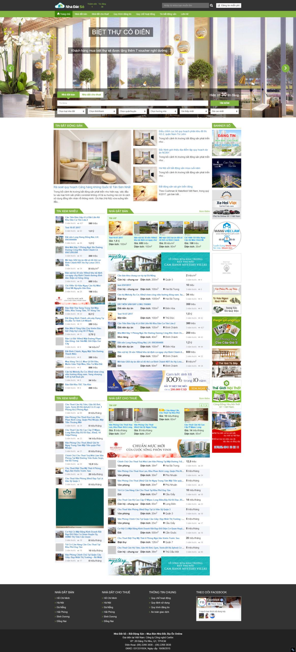 Mẫu thiết kế website đăng tin bất động sản