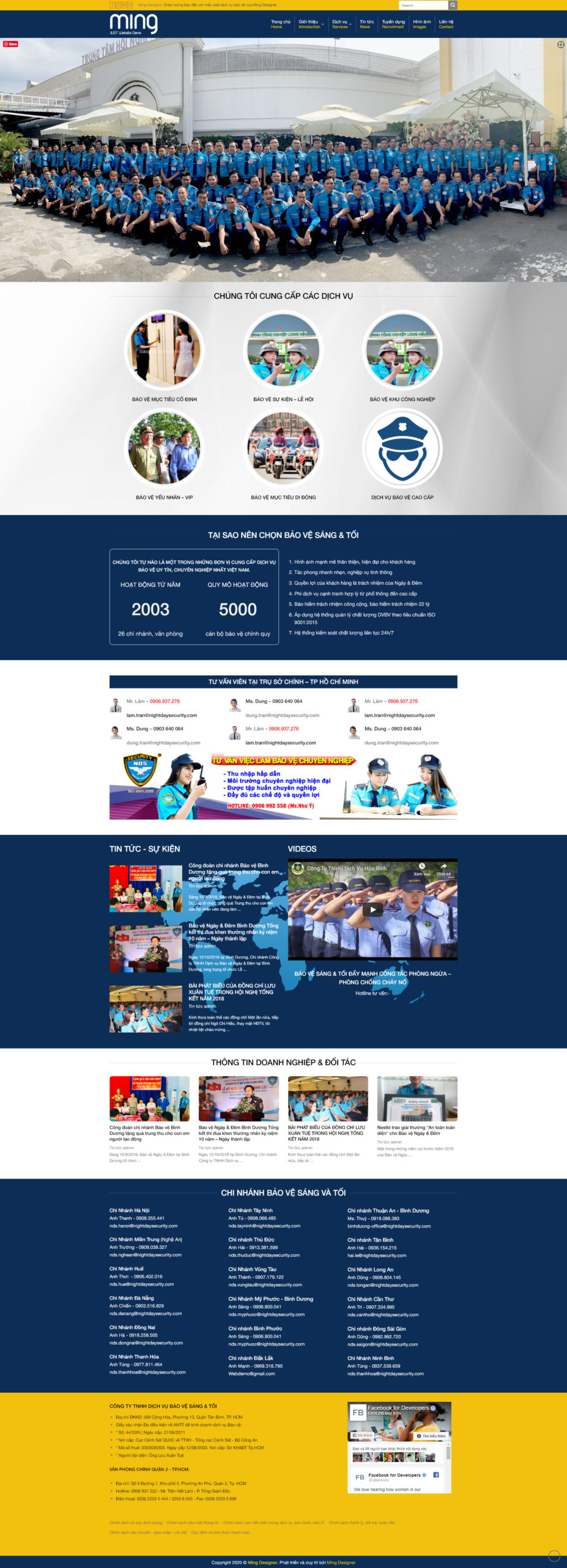 Mẫu giao diện website công ty bảo vệ Sáng & Tối