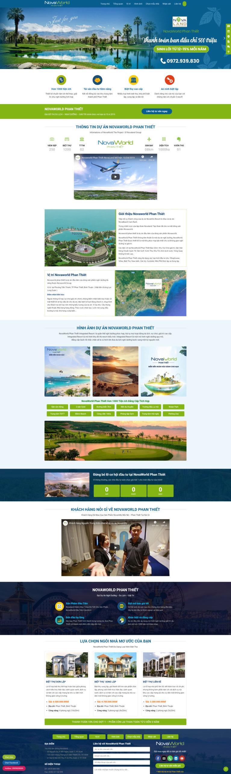 Mẫu Thiết kế Landing page dự án Novaworld