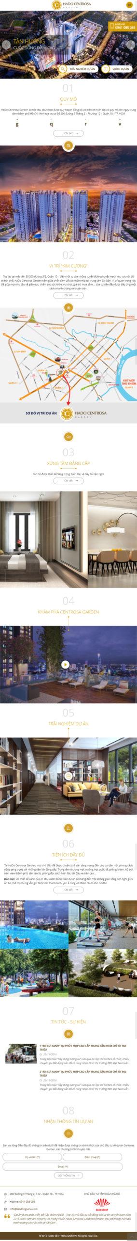 Mẫu website dự án Hà Đô Centrosa Garden